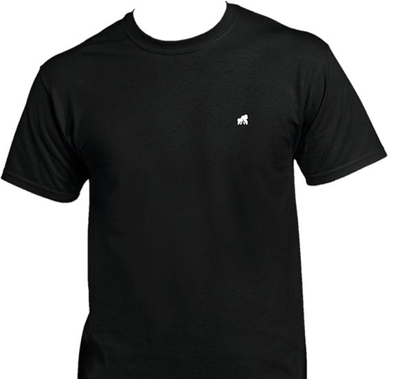 kids black t-shirt with a white logo