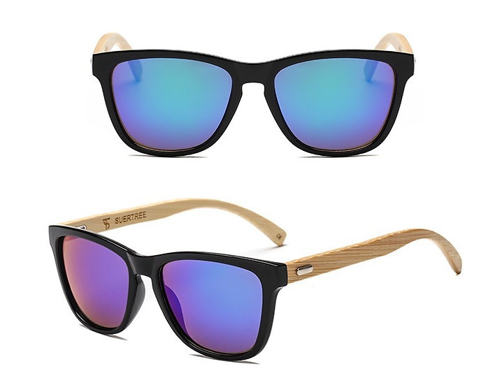 black and bamboo style sunglasses with purple/blue lens
