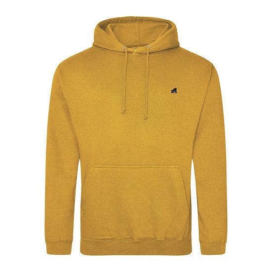 mustard adult hoodie with a black hoodie