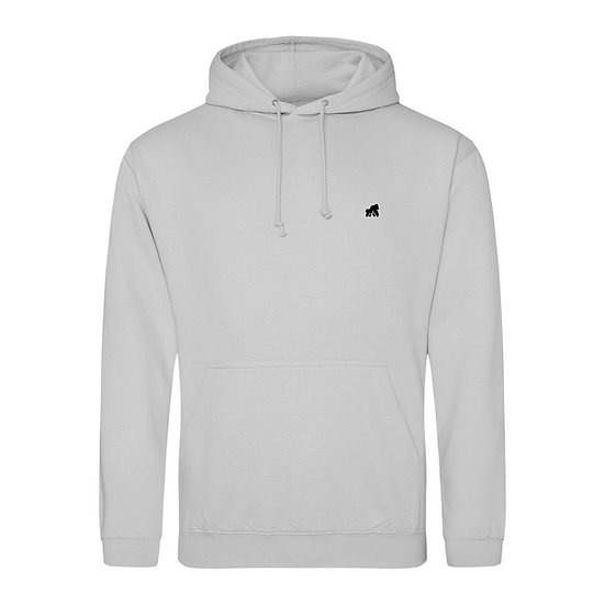 adult grey hoodie with a black logo