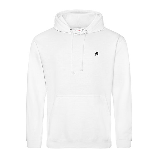 white adult hoodie with a black logo