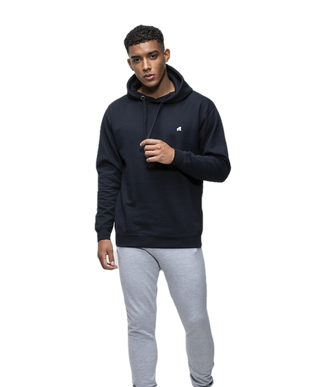 model in navy adult hoodie with a white logo