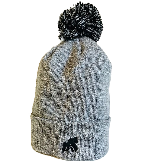 grey winter hat with a black logo
