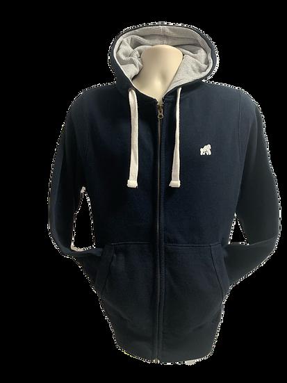 zip up hoodie in navy