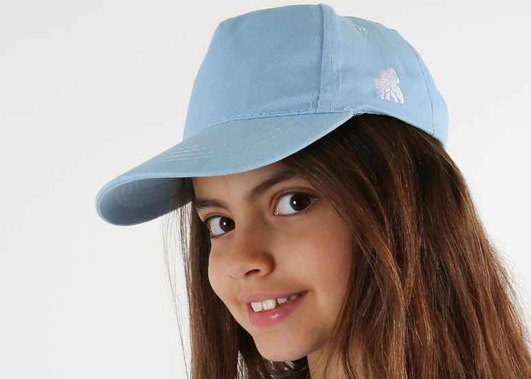 kids baby blue cap with a white logo on model