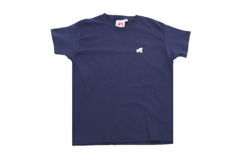 navy adult crew neck t-shirt with a white logo