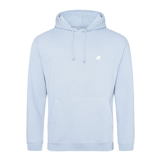 baby blue kids hoodie with a white logo