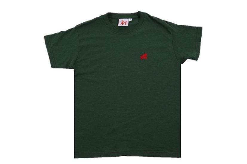 kids dark green t-shirt with a red logo