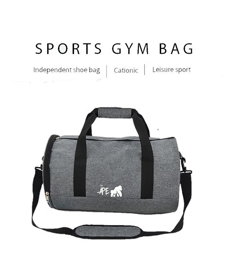grey sports bag front view