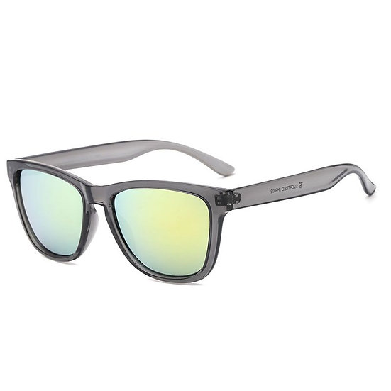 Grey sunglasses with a blue/green colour lens