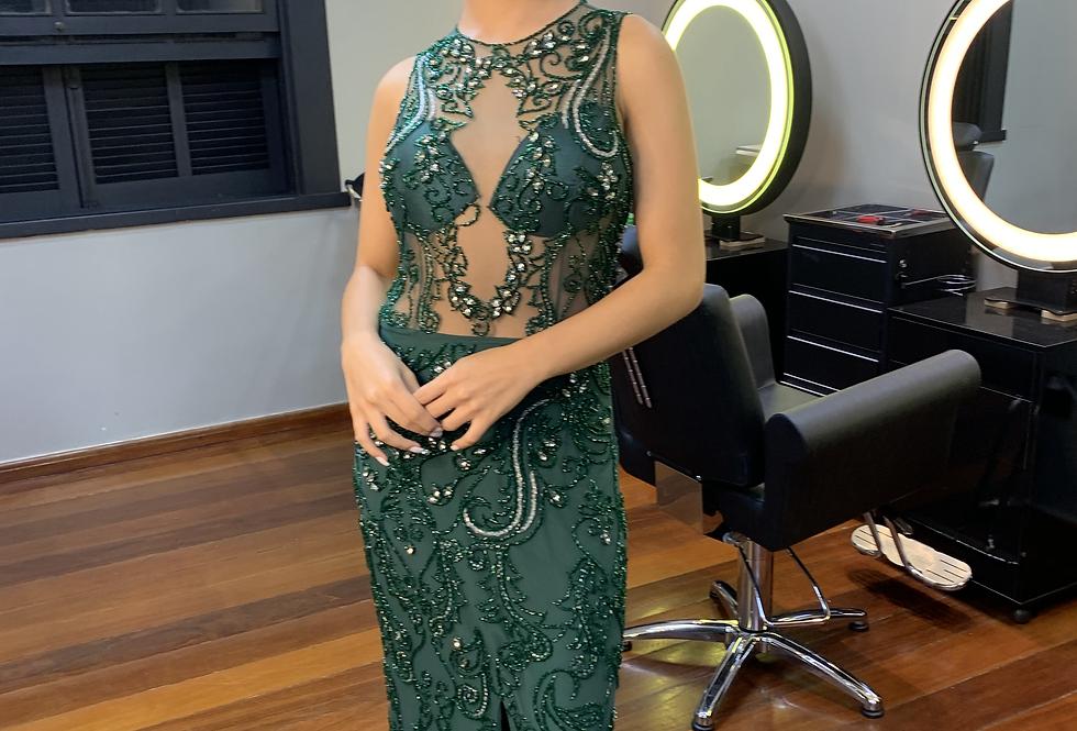Vestido de Aluguel Longo Todo Bordado e Transparência VTLIV1024