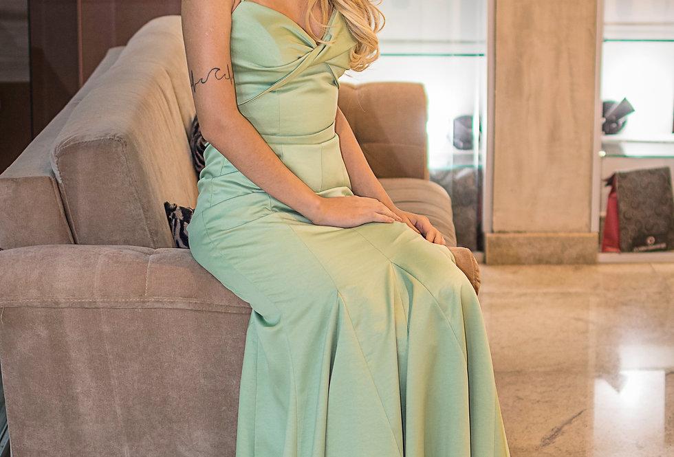 Vestido Verde Agua Longo Liso  FD