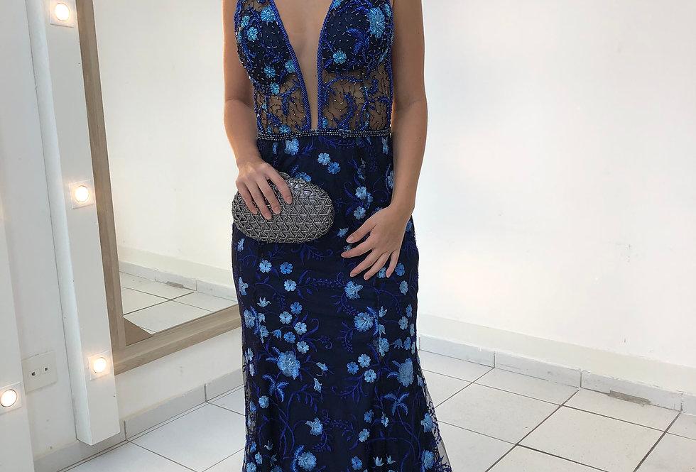 Vestido  Longo Sereia Azul Flores Em Alto Relevo 1155 SP