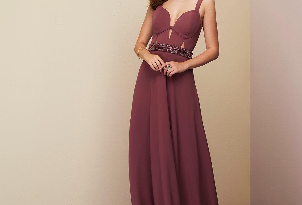 Vestido de Aluguel Longo Rose Liso  20325 FD