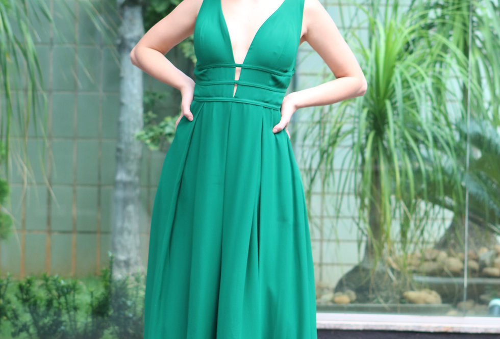 Vestido Verde Esmeralda Longo Liso Detalhe Tiras 20904 FD
