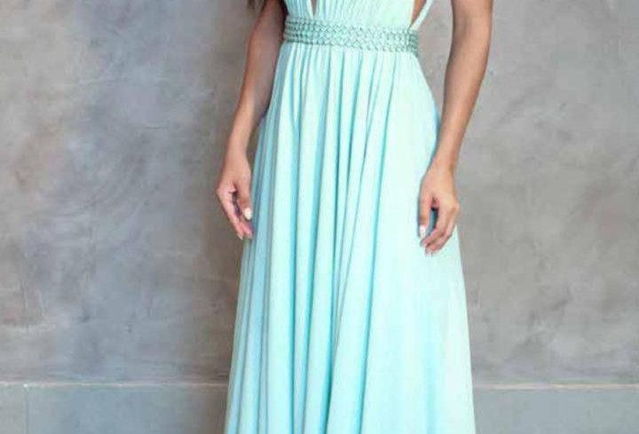 Vestido Longo Fluido com Decote 21930FD