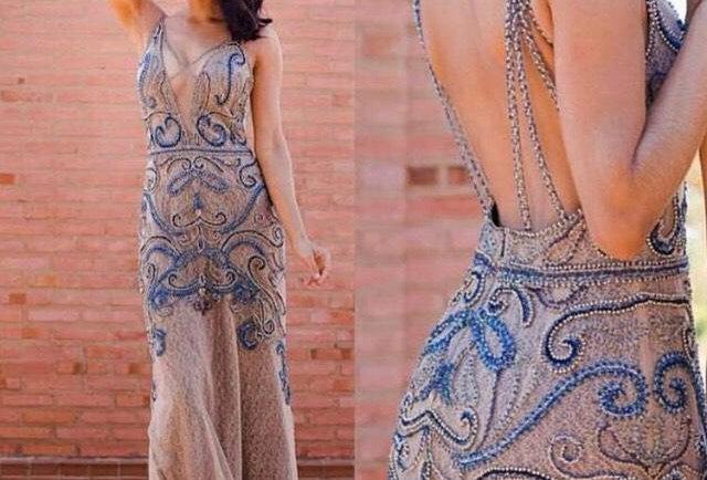 Vestido  Longo Azul Bordado FA21104