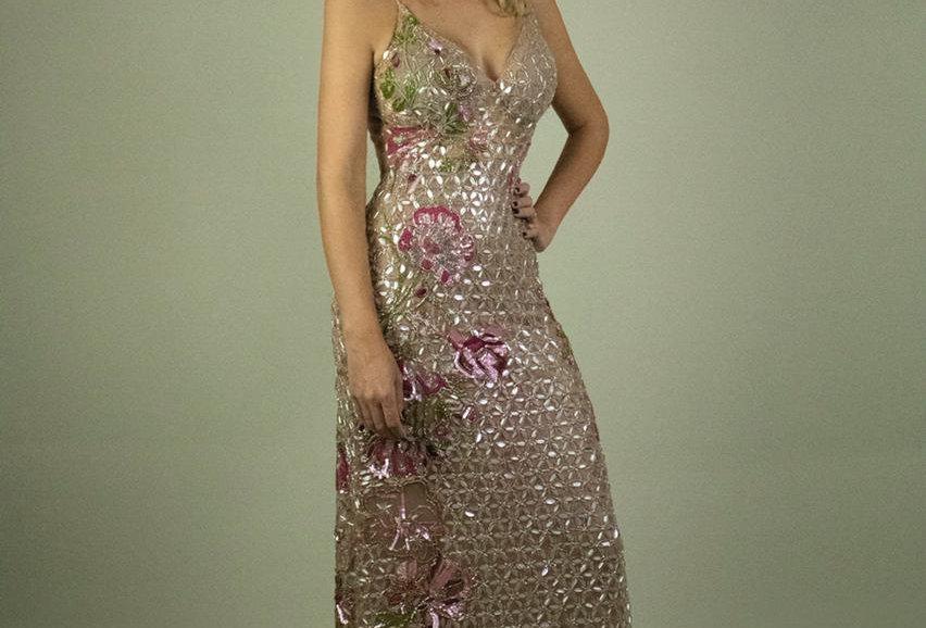Vestido Patricia Bonaldi em tule todo bordado FA21010