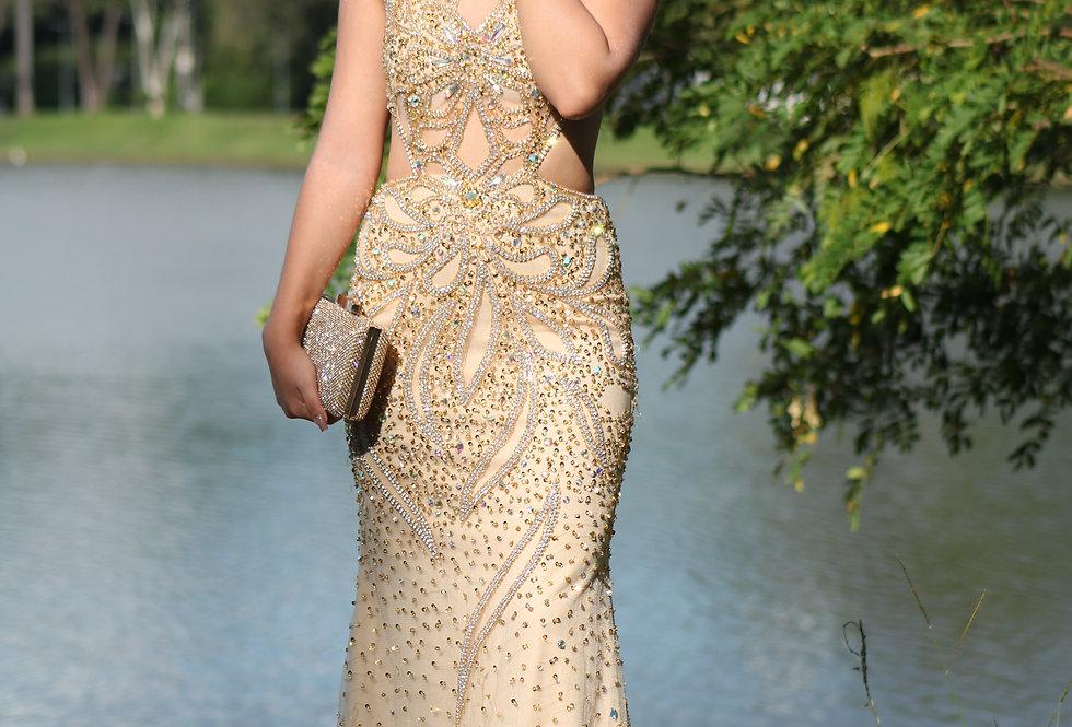 Vestido Longo Dourado Todo Bordado 09740 SB