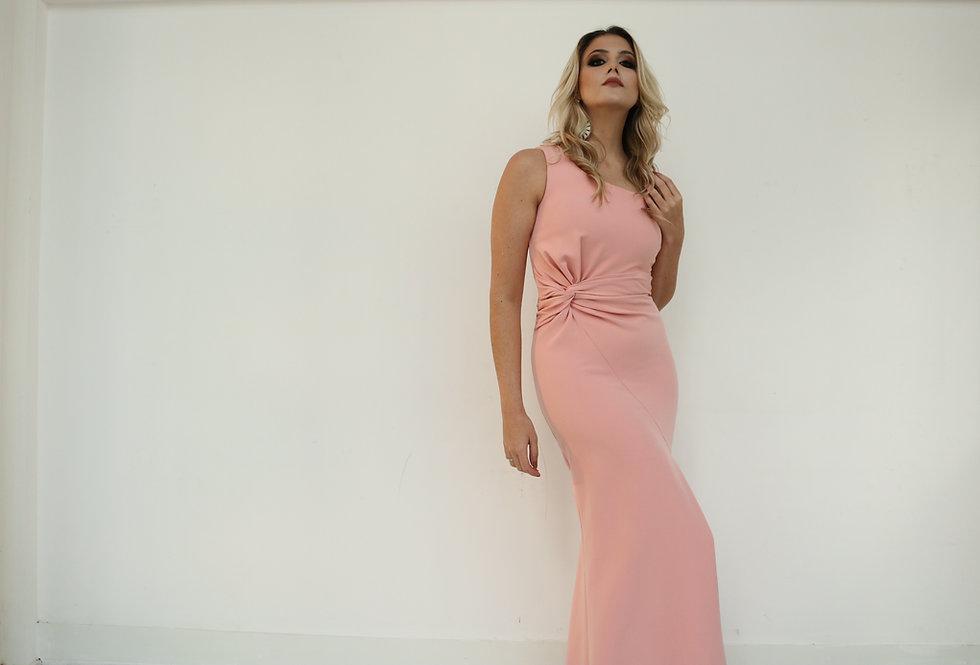 Vestido de Aluguel Longo Rosa Liso Com Nó lateral 19312 FD