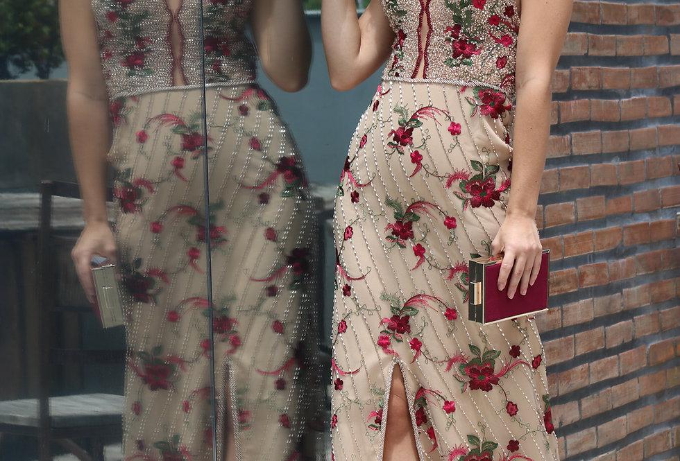 Vestido de Aluguel Longo Fundo Nude c Flores Vermelhas 0101 SP