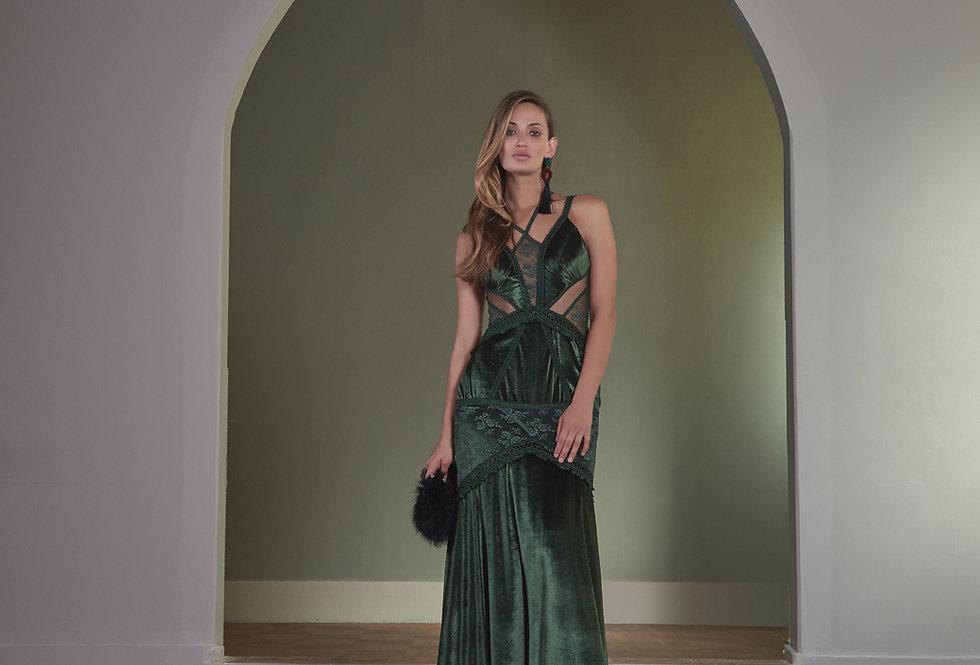 Vestido Longo Verde Musgo Veludo Alcinha P12829