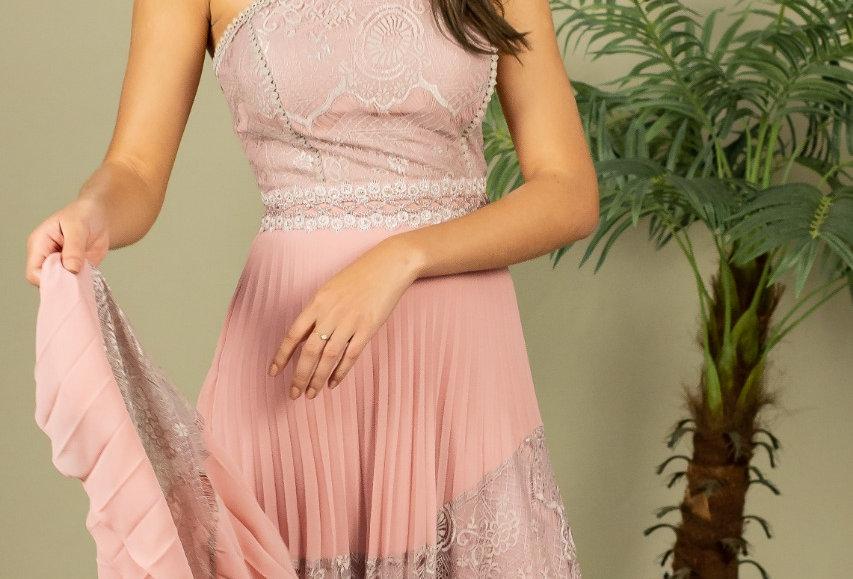 Vestido de Aluguel Rosa leve Bordado Longo  VE988SH