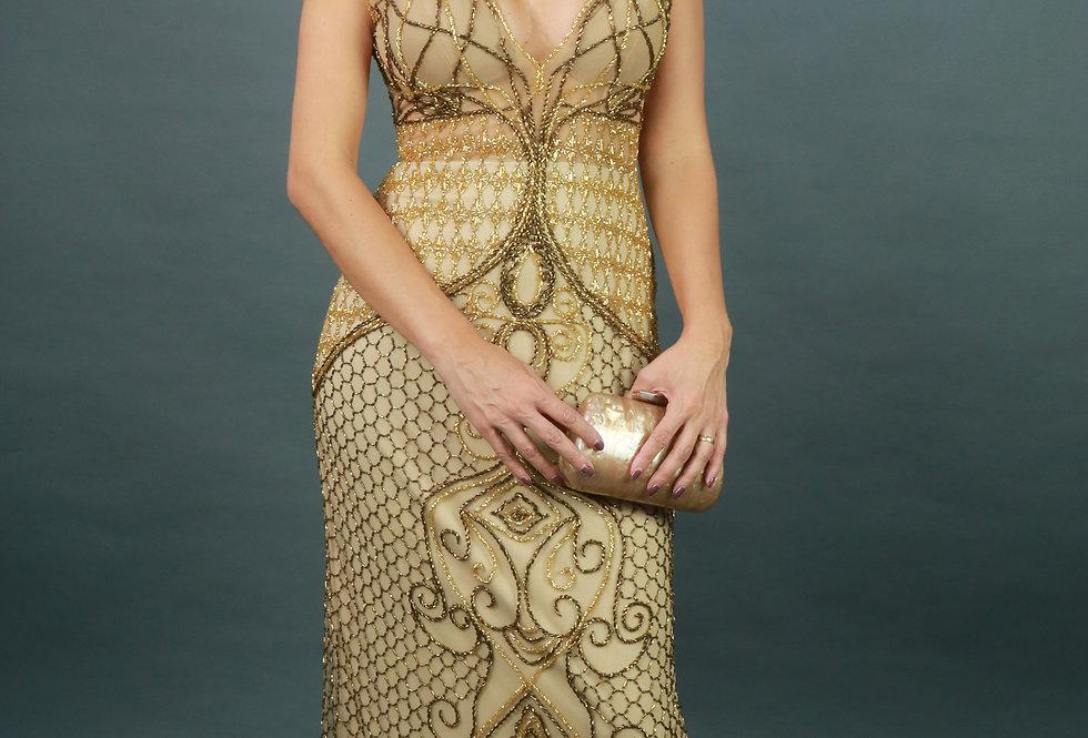 Vestido Longo Dourado Todo Bordado 1626 FA