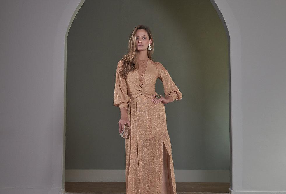 Vestido de Aluguel Longo Dourado Manga Longa P12755