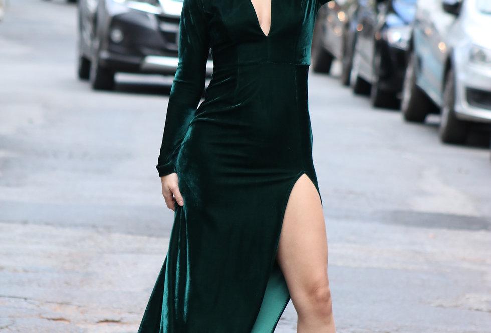 Vestido Longo Verde Musgo Veludo AP