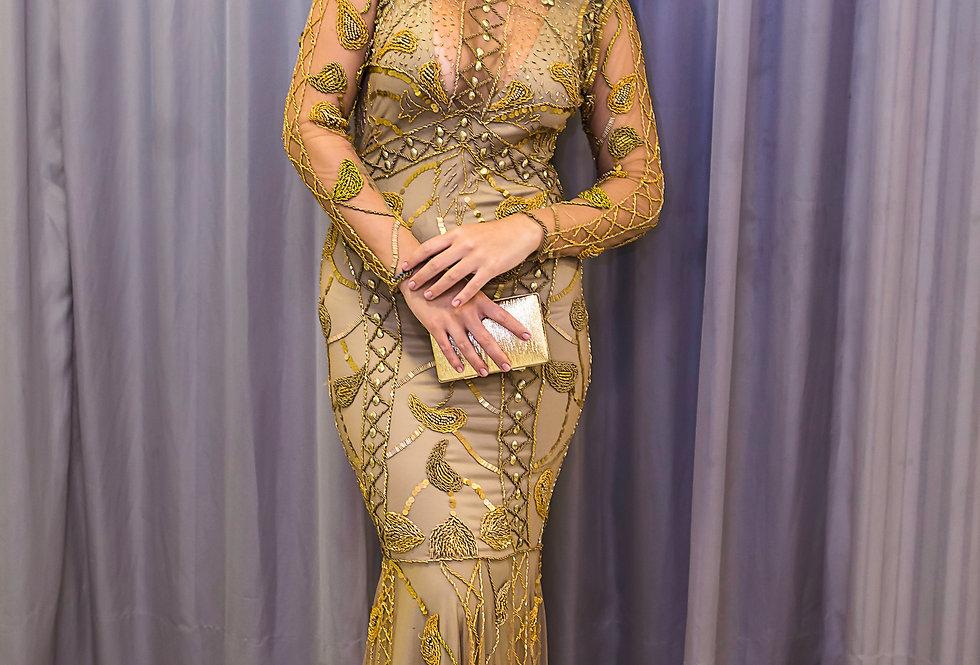 Vestido de Aluguel Longo Dourado AM02 FA