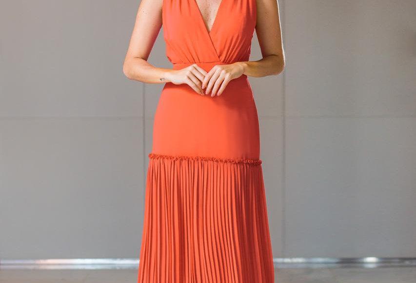 Vestido Longo Liso Coral VE12047 PE
