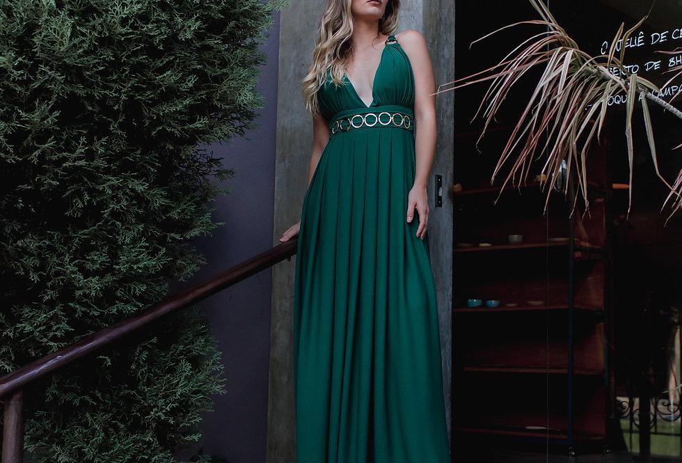Vestido Verde Esmeralda Longo Liso 20721 FD