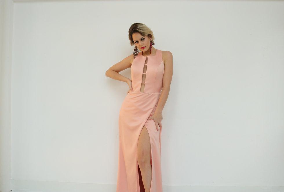 Vestido de Aluguel Longo Rosa Liso  19392 FD