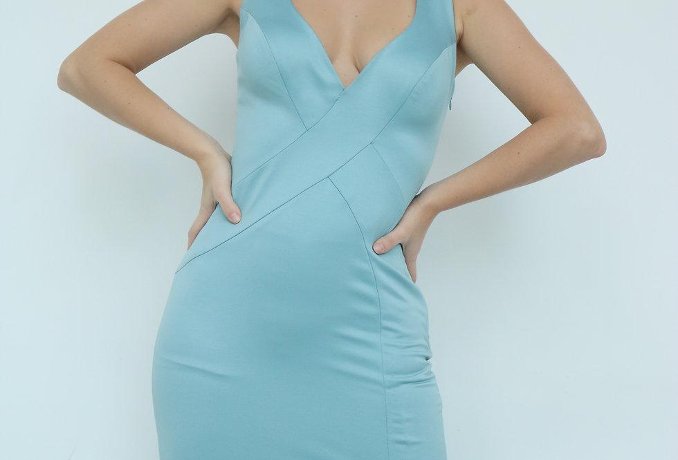 Vestido de Aluguel Azul SerenityLiso INV18-010 PP