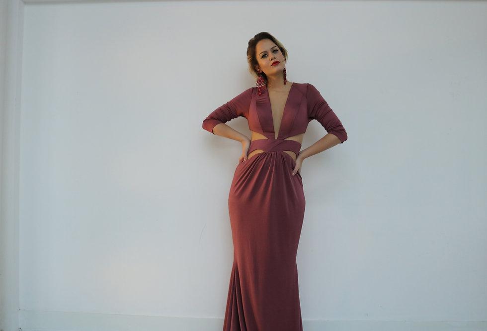 Vestido de Aluguel Longo Rose Liso  20322 FD