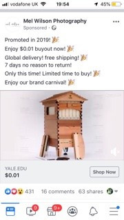 Facebook Account Hacked £3750 spent on advertising Bee Hives!!!!