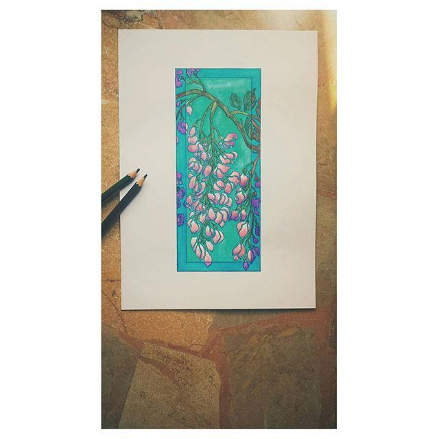 Floral watercolours - watercolours pencils.