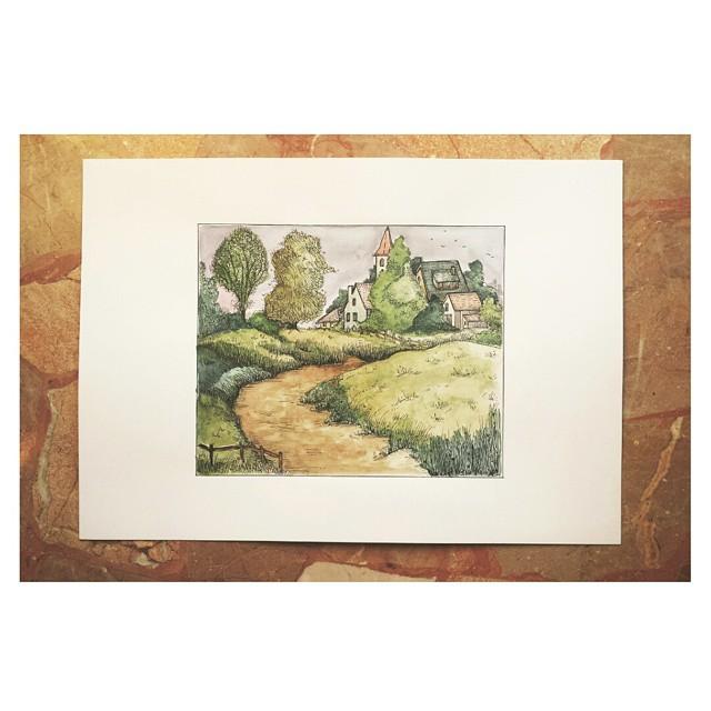 Landscape watercolors painting