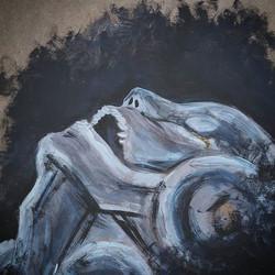 Morte di un automa._Acrylic on wood panel