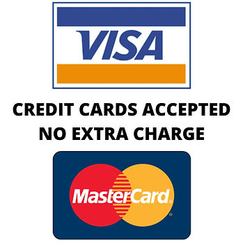 CREDIT CARDS ACCEPTED - NO EXTRA CHARGE.