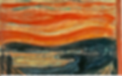 Abstract painting with red sky depicting Anxiety