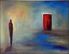 Painting of a red door and a figure standing to left showing Trauma