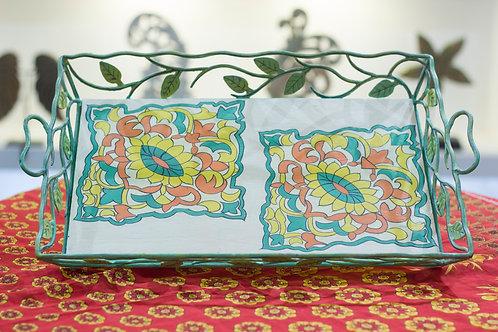Kotsa Rectangle Tray With Carving On Side Designer Item 611