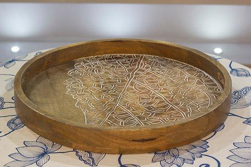 Kotsa Round Tray With Carving On Side Designer Item 632
