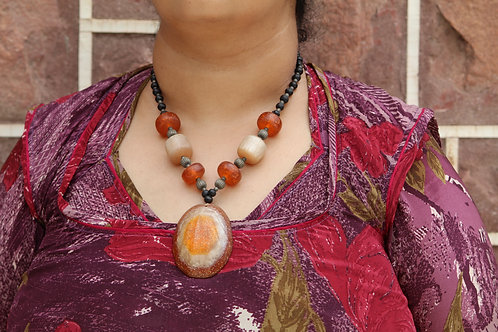 Handmade necklace full of gemstones rare design classy for any dress colorful