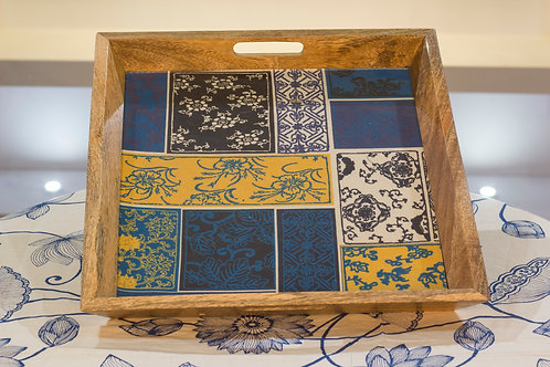 Kotsa Square Tray With Carving On Side Designer Item 634