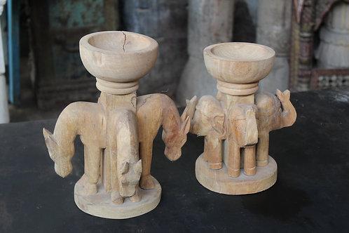Indian Vintage Unique Home Decor Decorative Wooden  Quad Face Horse