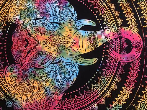 Kotsa Cotton Single Mandala Bedsheets | Rangoli Elephant | Handmade Prints | B21