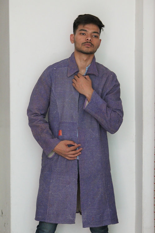 Kotsa Purple Kantha Jacket | Unisex Dress | Vintage Banjara Dress | Gypsy KVJ32B